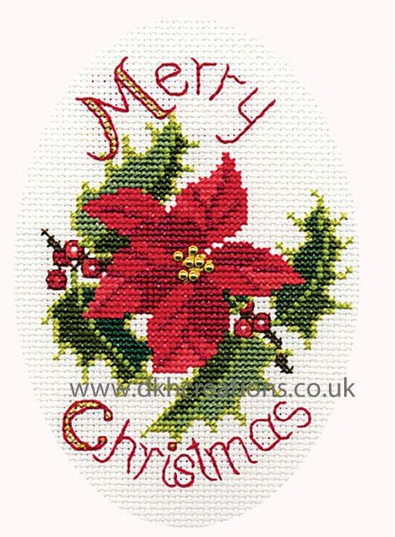 Poinsettia And Holly Christmas Card Cross Stitch Kit